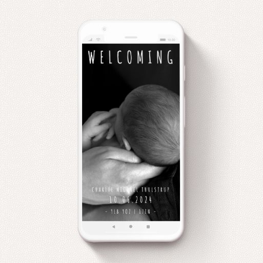 """A digital baby announcement named """"Informality"""". It is a smartphone screen sized announcement in a portrait orientation. It is a photographic digital baby announcement with room for 1 photo. """"Informality"""" is available as a flat announcement, with mainly white colouring."""