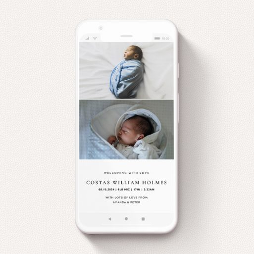"""A digital baby announcement design called """"Modern Thirds"""". It is a smartphone screen sized announcement in a portrait orientation. It is a photographic digital baby announcement with room for 2 photos. """"Modern Thirds"""" is available as a flat announcement, with mainly white colouring."""