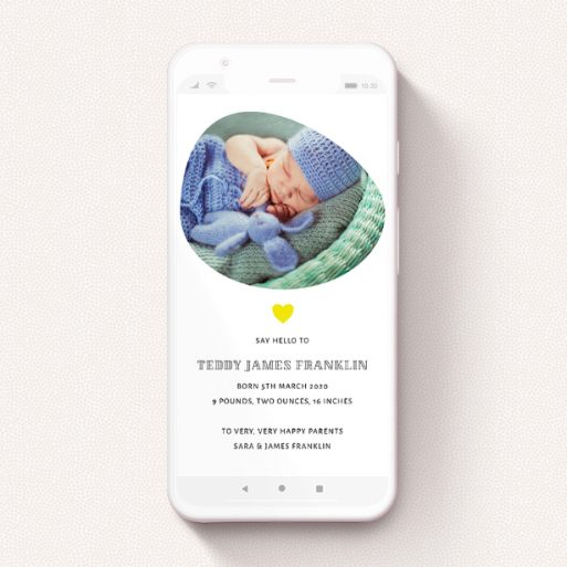 """A digital baby announcement named """"Organic"""". It is a smartphone screen sized announcement in a portrait orientation. It is a photographic digital baby announcement with room for 1 photo. """"Organic"""" is available as a flat announcement, with tones of white and yellow."""