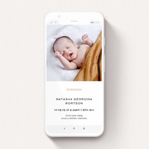 """A digital baby announcement template titled """"Upstairs-Downstairs"""". It is a smartphone screen sized announcement in a portrait orientation. It is a photographic digital baby announcement with room for 1 photo. """"Upstairs-Downstairs"""" is available as a flat announcement, with tones of white and gold."""