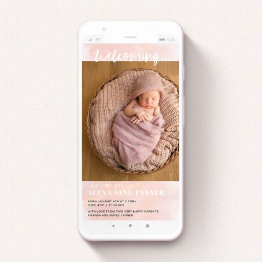 """A digital baby announcement design called """"Watercolour Welcome Pink"""". It is a smartphone screen sized announcement in a portrait orientation. It is a photographic digital baby announcement with room for 1 photo. """"Watercolour Welcome Pink"""" is available as a flat announcement, with tones of pink and white."""
