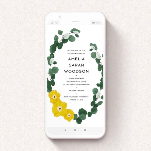 """A digital christening invite named """"Eucalyptus Wreath"""". It is a smartphone screen sized invite in a portrait orientation. """"Eucalyptus Wreath"""" is available as a flat invite, with tones of yellow, green and white."""