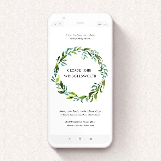"""A digital christening invite design called """"Green Wreath"""". It is a smartphone screen sized invite in a portrait orientation. """"Green Wreath"""" is available as a flat invite, with tones of blue and green."""