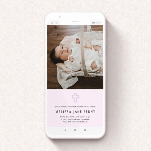 """A digital christening invite template titled """"Purple Outline Cross"""". It is a smartphone screen sized invite in a portrait orientation. It is a photographic digital christening invite with room for 1 photo. """"Purple Outline Cross"""" is available as a flat invite, with mainly purple/dark pink colouring."""