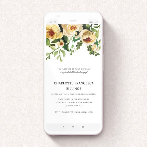 """A digital christening invite named """"Roses at the Top"""". It is a smartphone screen sized invite in a portrait orientation. """"Roses at the Top"""" is available as a flat invite, with mainly pink colouring."""