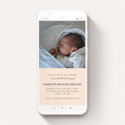 """A digital christening invite named """"White on Pink"""". It is a smartphone screen sized invite in a portrait orientation. It is a photographic digital christening invite with room for 1 photo. """"White on Pink"""" is available as a flat invite, with tones of pink and white."""