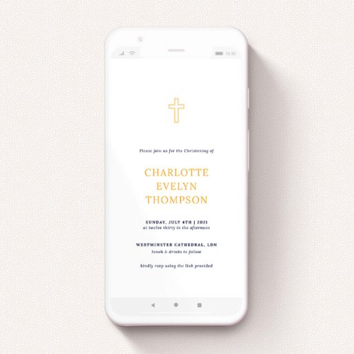 """A digital christening invite design called """"Yellow Outline Cross"""". It is a smartphone screen sized invite in a portrait orientation. """"Yellow Outline Cross"""" is available as a flat invite, with tones of white and orange."""