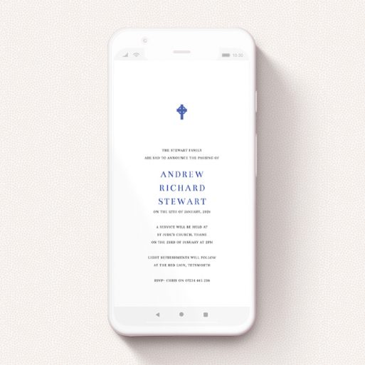 """A digital funeral invite called """"Bold Blue Cross"""". It is a smartphone screen sized invite in a portrait orientation. """"Bold Blue Cross"""" is available as a flat invite, with tones of white and blue."""