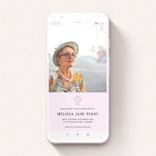"""A digital funeral invite design called """"Bold Purple"""". It is a smartphone screen sized invite in a portrait orientation. It is a photographic digital funeral invite with room for 1 photo. """"Bold Purple"""" is available as a flat invite, with mainly purple/dark pink colouring."""