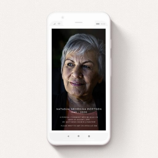 """A digital funeral invite design called """"Classic Portrait"""". It is a smartphone screen sized invite in a portrait orientation. It is a photographic digital funeral invite with room for 1 photo. """"Classic Portrait"""" is available as a flat invite, with mainly white colouring."""