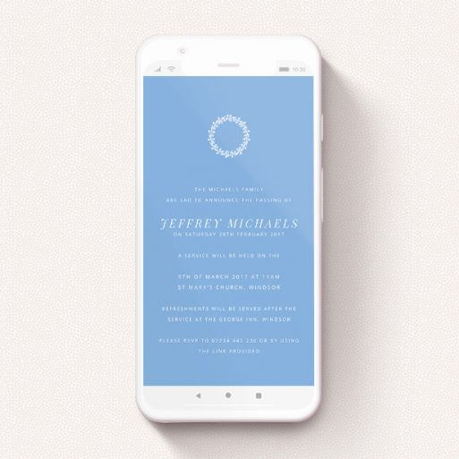 """A digital funeral invite design called """"Floral Wreath in White"""". It is a smartphone screen sized invite in a portrait orientation. """"Floral Wreath in White"""" is available as a flat invite, with tones of blue and white."""