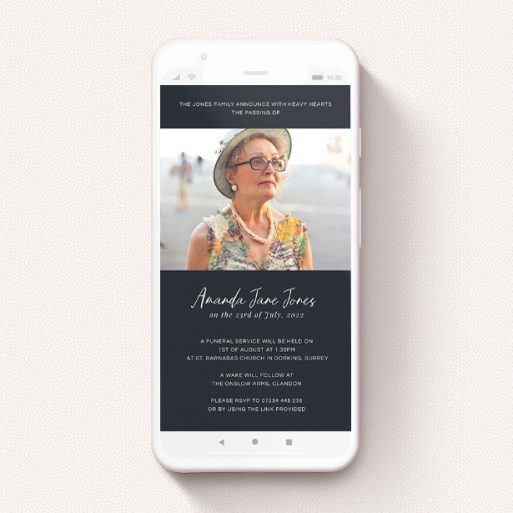 """A digital funeral invite design called """"Moody Blue"""". It is a smartphone screen sized invite in a portrait orientation. It is a photographic digital funeral invite with room for 1 photo. """"Moody Blue"""" is available as a flat invite, with tones of blue and white."""