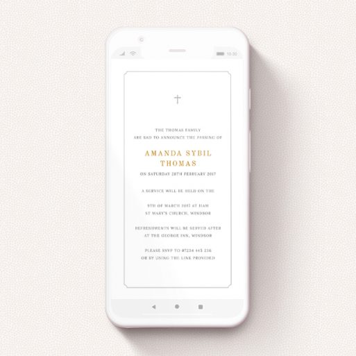 """A digital funeral invite called """"Notched Frame with Cross"""". It is a smartphone screen sized invite in a portrait orientation. """"Notched Frame with Cross"""" is available as a flat invite, with tones of white and gold."""