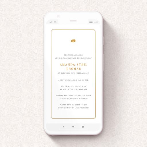 """A digital funeral invite design called """"Oak Header"""". It is a smartphone screen sized invite in a portrait orientation. """"Oak Header"""" is available as a flat invite, with tones of white and orange."""