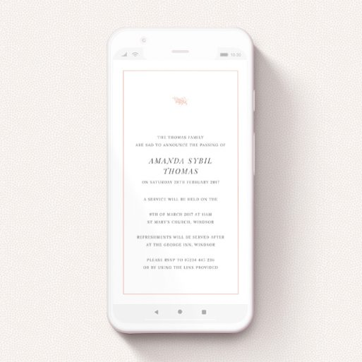 """A digital funeral invite called """"Olive Branch Pink"""". It is a smartphone screen sized invite in a portrait orientation. """"Olive Branch Pink"""" is available as a flat invite, with tones of white and pink."""