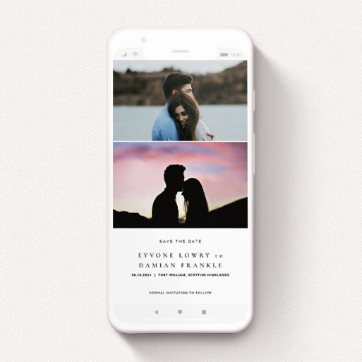 """A digital save the date design called """"Modern Thirds"""". It is a smartphone screen sized save the date in a portrait orientation. It is a photographic digital save the date with room for 2 photos. """"Modern Thirds"""" is available as a flat save the date, with mainly white colouring."""
