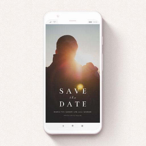 """A digital save the date design called """"Shanghai Nights"""". It is a smartphone screen sized save the date in a portrait orientation. It is a photographic digital save the date with room for 1 photo. """"Shanghai Nights"""" is available as a flat save the date, with mainly white colouring."""