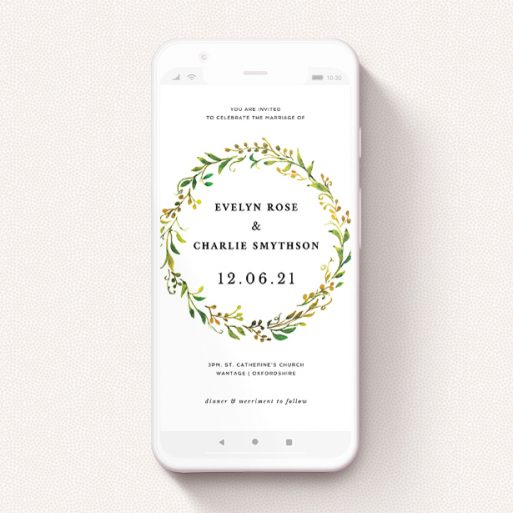 """A digital wedding invite design called """"Autumn Floral Round"""". It is a smartphone screen sized invite in a portrait orientation. """"Autumn Floral Round"""" is available as a flat invite, with tones of green, orange and yellow."""