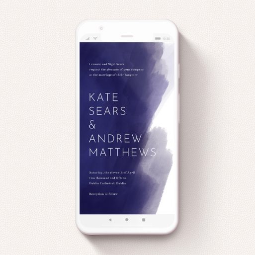 """A digital wedding invite named """"Blue and Cream """". It is a smartphone screen sized invite in a portrait orientation. """"Blue and Cream """" is available as a flat invite, with tones of blue and white."""