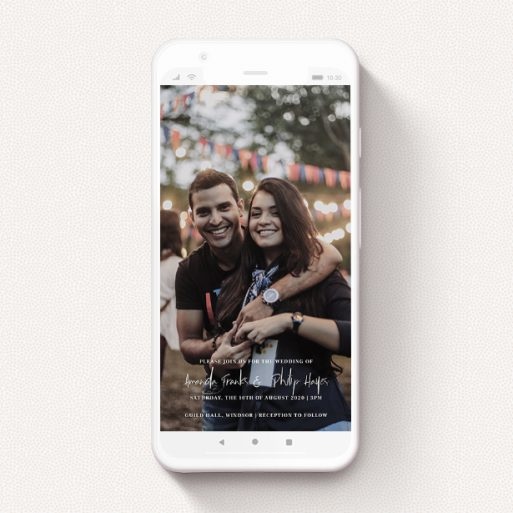 """A digital wedding invite design called """"Bottom Centre"""". It is a smartphone screen sized invite in a portrait orientation. It is a photographic digital wedding invite with room for 1 photo. """"Bottom Centre"""" is available as a flat invite, with mainly white colouring."""