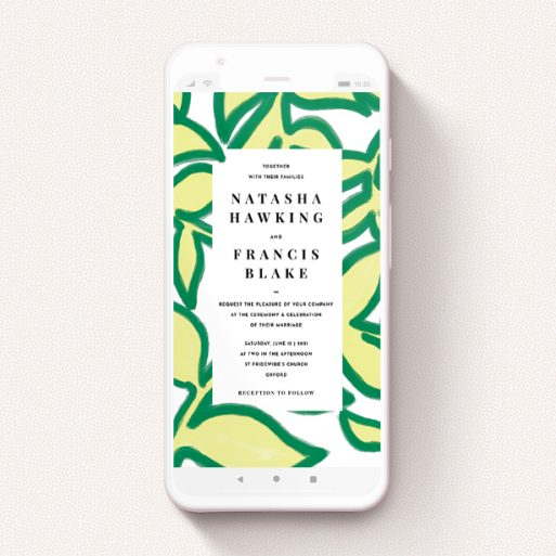 """A digital wedding invite template titled """"Fresh Vines"""". It is a smartphone screen sized invite in a portrait orientation. """"Fresh Vines"""" is available as a flat invite, with tones of green and white."""