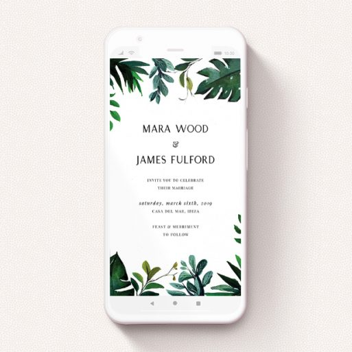 """A digital wedding invite template titled """"Gap in the Jungle"""". It is a smartphone screen sized invite in a portrait orientation. """"Gap in the Jungle"""" is available as a flat invite, with tones of green and white."""