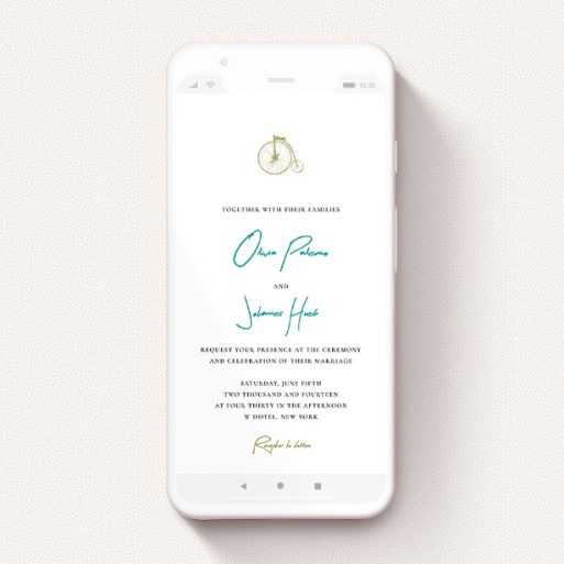 """A digital wedding invite design called """"On your bike new """". It is a smartphone screen sized invite in a portrait orientation. """"On your bike new """" is available as a flat invite, with tones of white and green."""