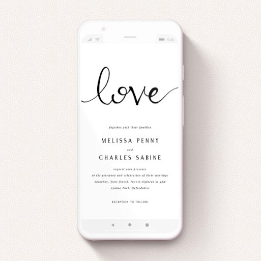 """A digital wedding invite template titled """"Simply Love"""". It is a smartphone screen sized invite in a portrait orientation. """"Simply Love"""" is available as a flat invite, with tones of white and black."""