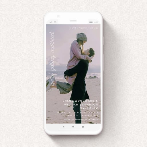 """A digital wedding invite template titled """"Southbank"""". It is a smartphone screen sized invite in a portrait orientation. It is a photographic digital wedding invite with room for 1 photo. """"Southbank"""" is available as a flat invite, with mainly white colouring."""