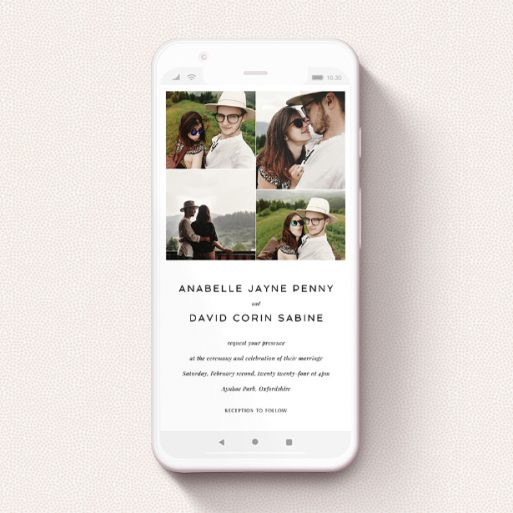 """A digital wedding invite template titled """"Stacked Photos"""". It is a smartphone screen sized invite in a portrait orientation. It is a photographic digital wedding invite with room for 4 photos. """"Stacked Photos"""" is available as a flat invite, with mainly white colouring."""
