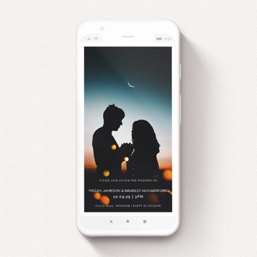 """A digital wedding invite template titled """"Thin White Border"""". It is a smartphone screen sized invite in a portrait orientation. It is a photographic digital wedding invite with room for 1 photo. """"Thin White Border"""" is available as a flat invite, with mainly white colouring."""
