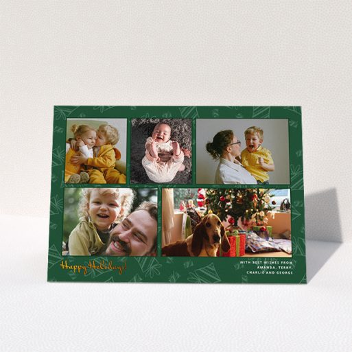 """A family christmas card design titled """"Christmas Tree Green"""". It is an A5 card in a landscape orientation. It is a photographic family christmas card with room for 5 photos. """"Christmas Tree Green"""" is available as a folded card, with tones of green, gold and light green."""