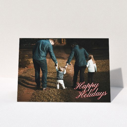 """A family christmas card design titled """"Happy Holidays"""". It is an A5 card in a landscape orientation. It is a photographic family christmas card with room for 1 photo. """"Happy Holidays"""" is available as a folded card."""