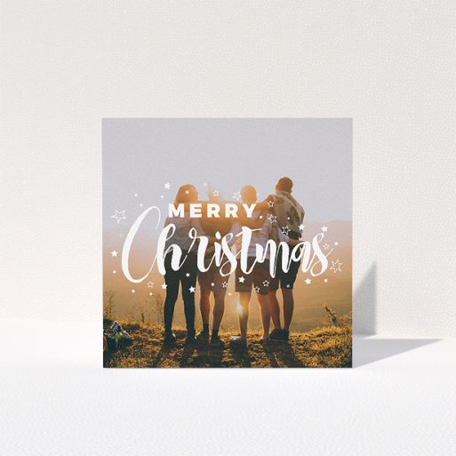 """A family christmas card design named """"Jolly Old Christmas"""". It is a square (148mm x 148mm) card in a square orientation. It is a photographic family christmas card with room for 1 photo. """"Jolly Old Christmas"""" is available as a folded card, with mainly white colouring."""