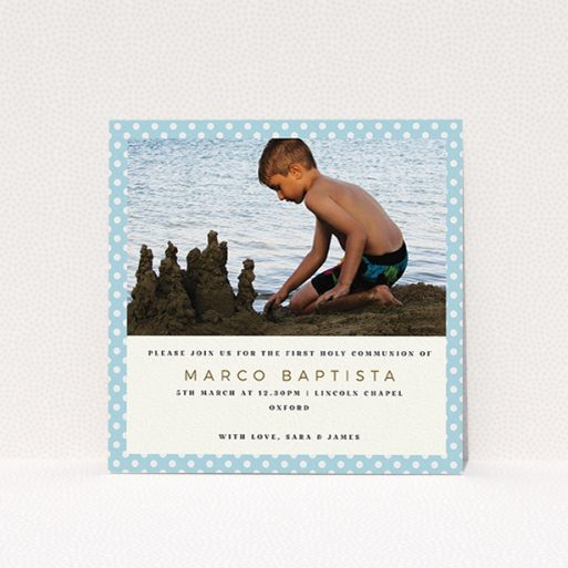 """A first holy communion invitation called """"Boy Blue Polkadots"""". It is a square (148mm x 148mm) invite in a square orientation. It is a photographic first holy communion invitation with room for 1 photo. """"Boy Blue Polkadots"""" is available as a flat invite, with tones of blue and white."""