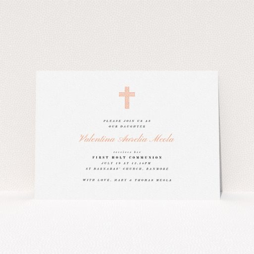 """A first holy communion invitation design called """"Light Pink Cross"""". It is an A5 invite in a landscape orientation. """"Light Pink Cross"""" is available as a flat invite, with tones of white and pink."""