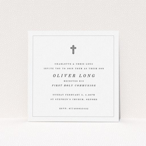 """A first holy communion invitation design named """"Simple Grey Cross"""". It is a square (148mm x 148mm) invite in a square orientation. """"Simple Grey Cross"""" is available as a flat invite, with tones of white and black."""
