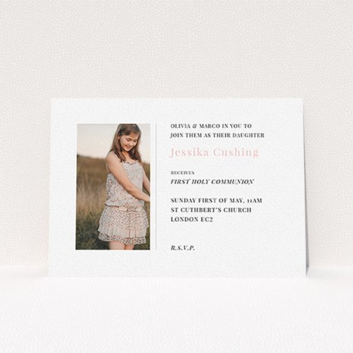"""A first holy communion invitation called """"Simple Side Frame"""". It is an A6 invite in a landscape orientation. It is a photographic first holy communion invitation with room for 1 photo. """"Simple Side Frame"""" is available as a flat invite, with tones of white and pink."""