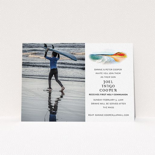 """A first holy communion invitation design named """"Watercolour Bay"""". It is an A6 invite in a landscape orientation. It is a photographic first holy communion invitation with room for 1 photo. """"Watercolour Bay"""" is available as a flat invite, with tones of white, orange and light blue."""