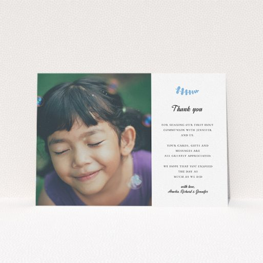 """A first holy communion thank you card called """"Blue Fern"""". It is an A5 card in a landscape orientation. It is a photographic first holy communion thank you card with room for 1 photo. """"Blue Fern"""" is available as a flat card, with tones of white and blue."""