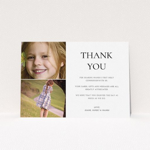 """A first holy communion thank you card design named """"Stacked Frames in Thirds"""". It is an A5 card in a landscape orientation. It is a photographic first holy communion thank you card with room for 2 photos. """"Stacked Frames in Thirds"""" is available as a flat card, with mainly white colouring."""