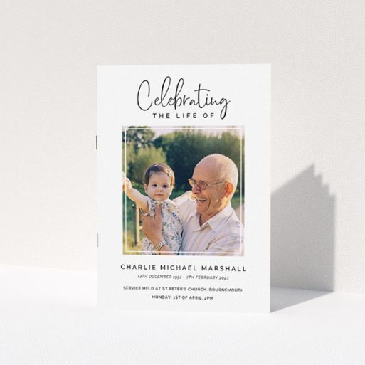 """A funeral order of service named """"Uplifting Remembrance. It is an A5 booklet in a portrait orientation. It is a photographic funeral order of service with room for 1 photo. """"Uplifting Remembrance"""" is available as a folded booklet booklet, with tones of white and black."""