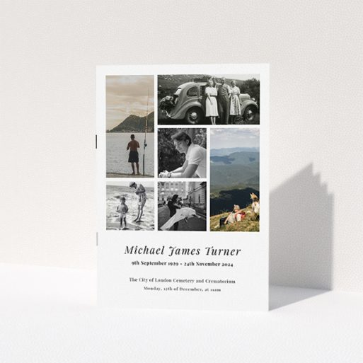 """A funeral order of service named """"Collage Cover. It is an A5 booklet in a portrait orientation. It is a photographic funeral program with room for 6 photos. """"Collage Cover"""" is available as a folded booklet booklet, with tones of white and black."""