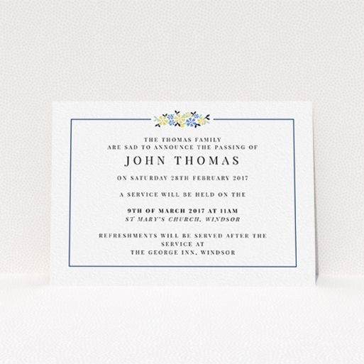 """A funeral announcement card design called """"A celebration and flowers"""". It is an A6 card in a landscape orientation. """"A celebration and flowers"""" is available as a flat card, with tones of white and blue."""
