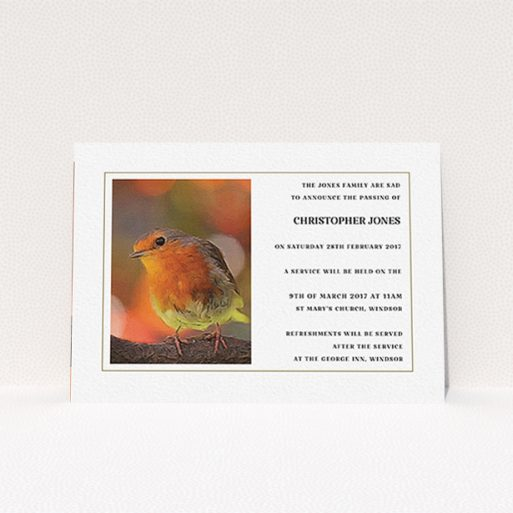 """A funeral announcement card design named """"A touch of autumn"""". It is an A6 card in a landscape orientation. """"A touch of autumn"""" is available as a flat card, with tones of white, orange and brown."""