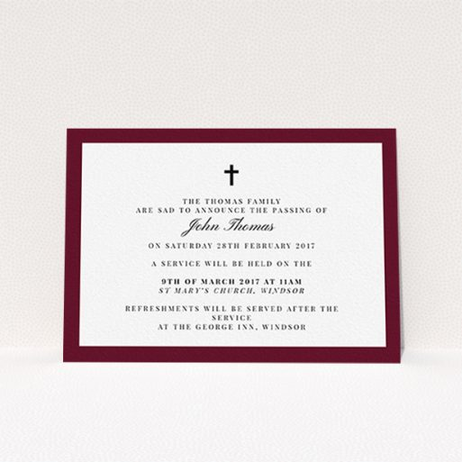 """A funeral announcement card design titled """"Classic border"""". It is an A6 card in a landscape orientation. """"Classic border"""" is available as a flat card, with tones of burgundy and white."""