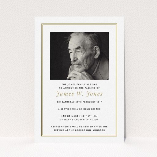 """A funeral announcement card template titled """"Classic remembrance"""". It is an A5 card in a portrait orientation. It is a photographic funeral announcement card with room for 1 photo. """"Classic remembrance"""" is available as a flat card, with tones of gold and white."""