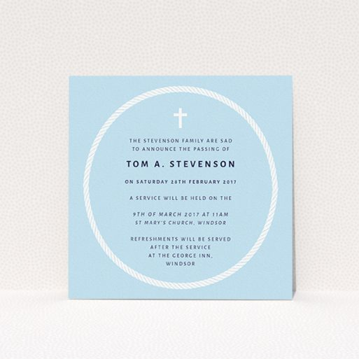 """A funeral announcement card design called """"Complete not"""". It is a square (148mm x 148mm) card in a square orientation. """"Complete not"""" is available as a flat card, with tones of blue and white."""