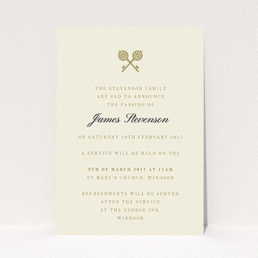 """A funeral announcement card design called """"Cross Keys"""". It is an A6 card in a portrait orientation. """"Cross Keys"""" is available as a flat card, with tones of cream and gold."""