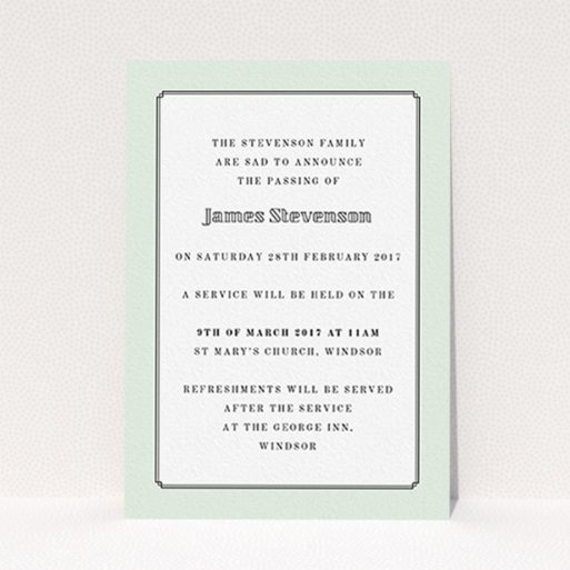 """A funeral announcement card named """"Decrement"""". It is an A6 card in a portrait orientation. """"Decrement"""" is available as a flat card, with mainly green colouring."""